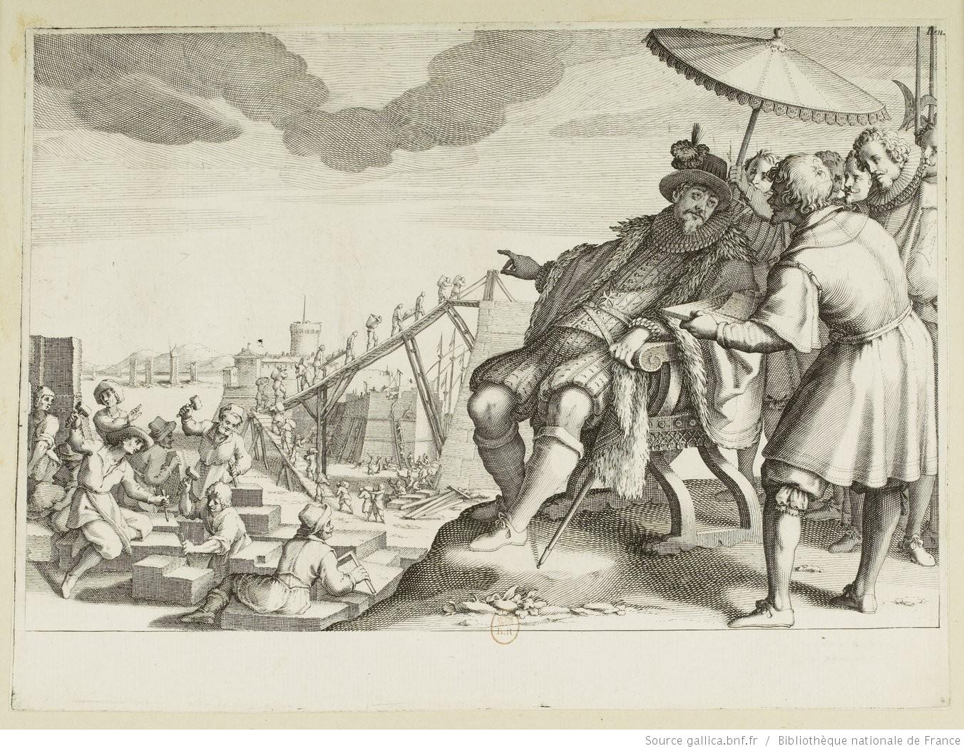 La vie de Ferdinand Ier de Médicis. 4. Le Grand Duc fait fortifier le port de Livourne: Jacques Callot sculp. Matteo Roselli inv. 1619-1620